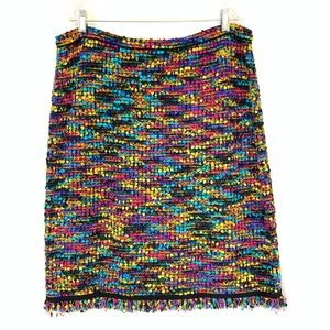 ESCADA Multi Colored Boucle Wool Blend Knit Skirt